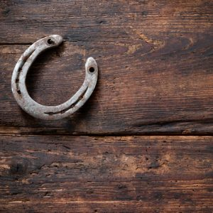 Old rusty horseshoe on vintage wooden board